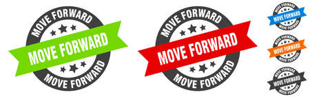 move forward stamp. move forward round ribbon sticker. label