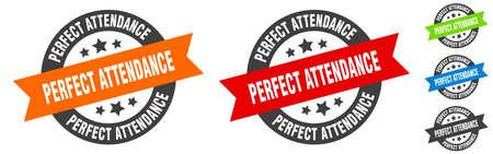 perfect attendance stamp. perfect attendance round ribbon sticker. label
