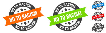 no to racism stamp. no to racism round ribbon sticker. label