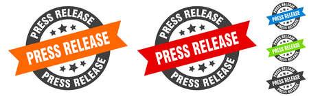 press release stamp. press release round ribbon sticker. label