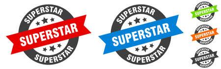 superstar stamp. superstar round ribbon sticker. label