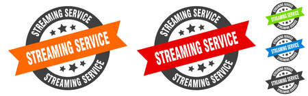 streaming service stamp. streaming service round ribbon sticker. label