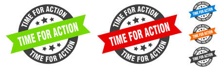 time for action stamp. time for action round ribbon sticker. label