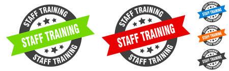 staff training stamp. staff training round ribbon sticker. label