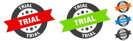 trial stamp. trial round ribbon sticker. label