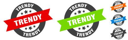 trendy stamp. trendy round ribbon sticker. label 矢量图像