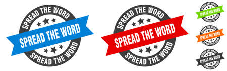 spread the word stamp. spread the word round ribbon sticker. label