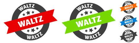 waltz stamp. waltz round ribbon sticker. label