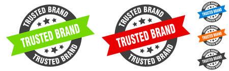 trusted brand stamp. trusted brand round ribbon sticker. label 矢量图像
