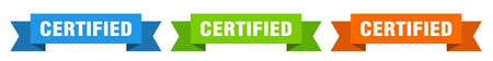 certified ribbon. certified isolated paper banner. sign