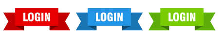 login ribbon. login isolated paper banner. sign