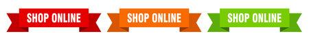 shop online ribbon. shop online isolated paper banner. sign