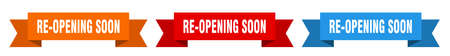 re-opening soon ribbon. re-opening soon isolated paper banner. sign