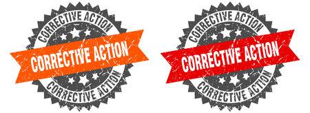 corrective action grunge stamp set. corrective action band sign Vector Illustration