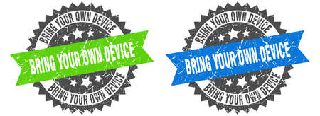 bring your own device grunge stamp set. bring your own device band sign