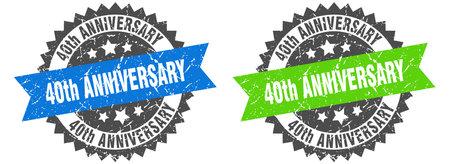 40th anniversary grunge stamp set. 40th anniversary band sign