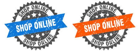 shop online grunge stamp set. shop online band sign Illustration
