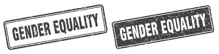 gender equality square stamp. gender equality grunge sign set Illustration