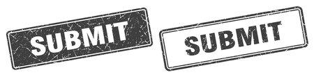 submit square stamp. submit grunge sign set