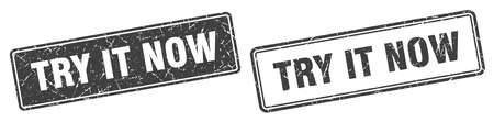 try it now square stamp. try it now grunge sign set Vektoros illusztráció