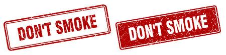 don't smoke square stamp. don't smoke grunge sign set