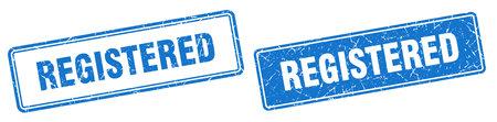 registered square stamp. registered grunge sign set
