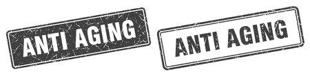 anti aging square stamp. anti aging grunge sign set