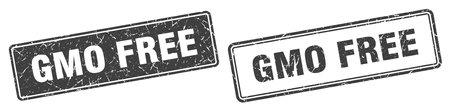 gmo free square stamp. gmo free grunge sign set