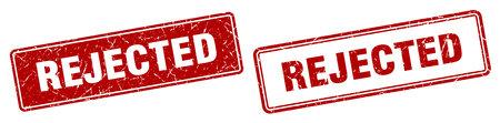rejected square stamp. rejected grunge sign set