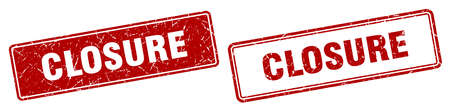 closure square stamp. closure grunge sign set