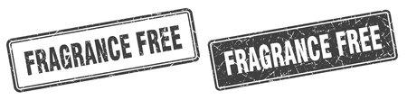 fragrance free square stamp. fragrance free grunge sign set 일러스트
