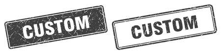 custom square stamp. custom grunge sign set