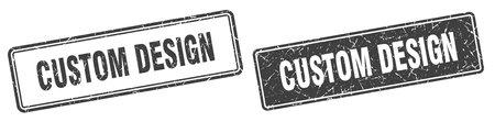 custom design square stamp. custom design grunge sign set 일러스트