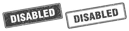 disabled square stamp. disabled grunge sign set