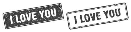 i love you square stamp. i love you grunge sign set