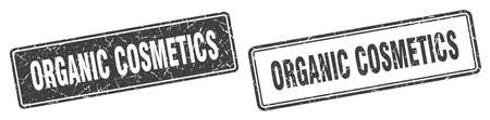 organic cosmetics square stamp. organic cosmetics grunge sign set 일러스트