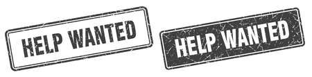 help wanted square stamp. help wanted grunge sign set