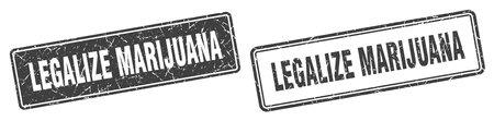 legalize marijuana square stamp. legalize marijuana grunge sign set