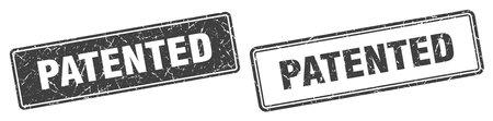 patented square stamp. patented grunge sign set 일러스트