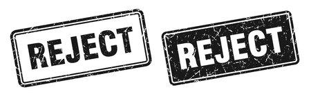 reject square stamp. reject grunge sign set