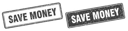 save money square stamp. save money grunge sign set