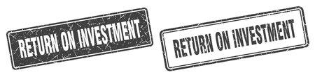 return on investment square stamp. return on investment grunge sign set