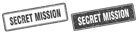 secret mission square stamp. secret mission grunge sign set