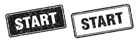 start square stamp. start grunge sign set