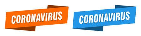 coronavirus ribbon label sign set. coronavirus banner