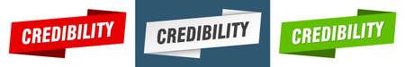 credibility ribbon label sign set. credibility banner