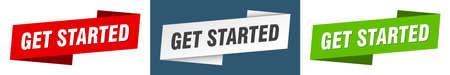 get started ribbon label sign set. get started banner