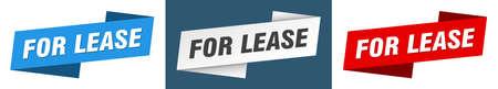 for lease ribbon label sign set. for lease banner Vektoros illusztráció