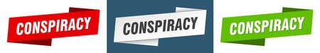 conspiracy ribbon label sign set. conspiracy banner Ilustración de vector