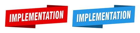 implementation ribbon label sign set. implementation banner